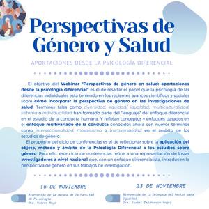 Juan webinar platform hosts Perspectivas de género y salud: aportaciones desde la psicología diferencial