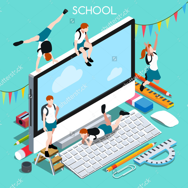 Stock-vector-school-devices-set-desktop-personal-computer-interacting-people-unique-isometric-realistic-poses-308003549